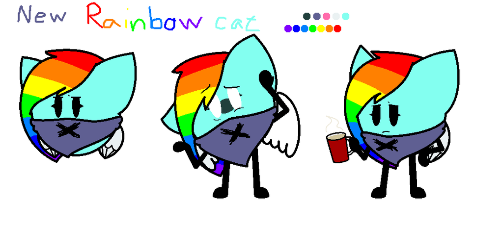 My oc: Rainbow cat (New) by SkyMeowCute