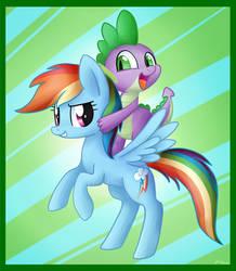 Rainbow Dash and Spike by artoftheghostie