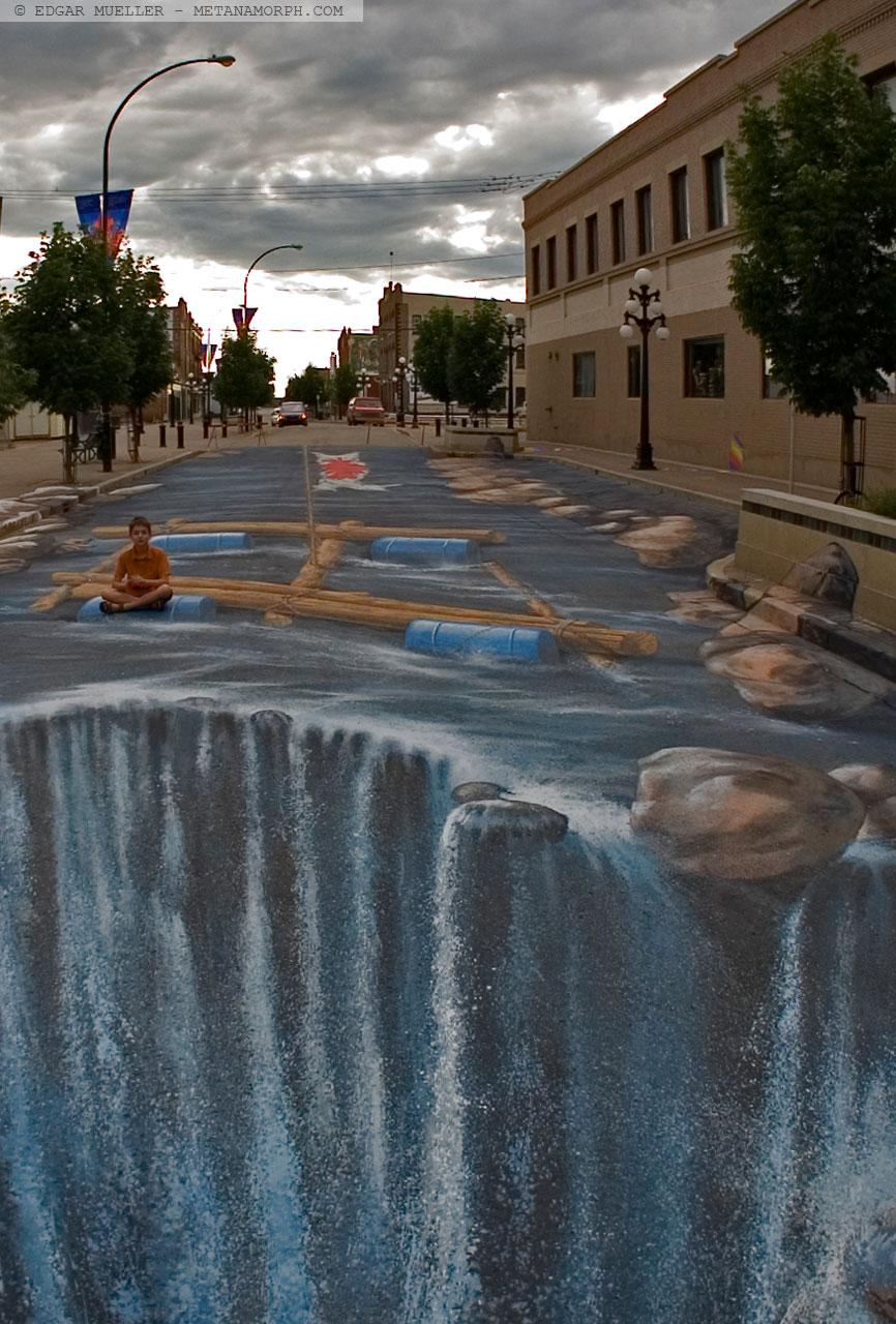 Illusion street art waterfall 3d graffiti hd wallpaper for Floor illusions