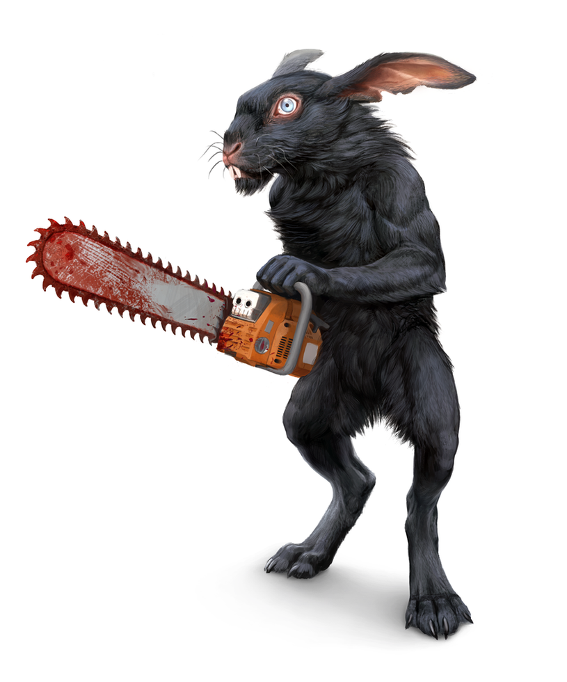 rabbit with a chainsaw by Atenebris
