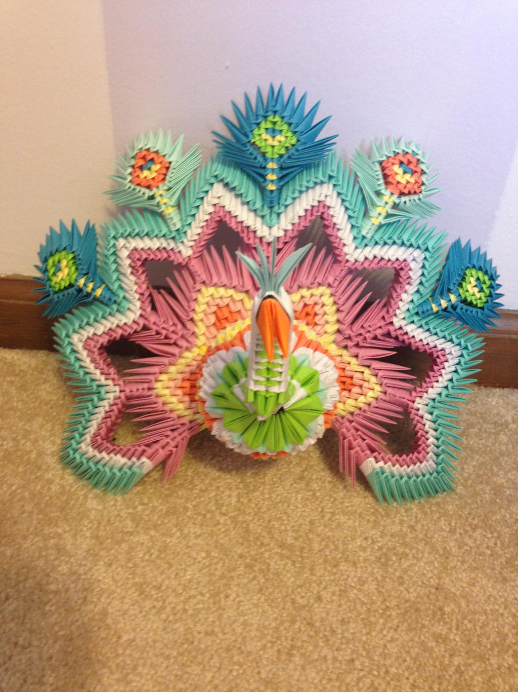 3D Origami Peacock by doodlenoodle2173 on DeviantArt - photo#30