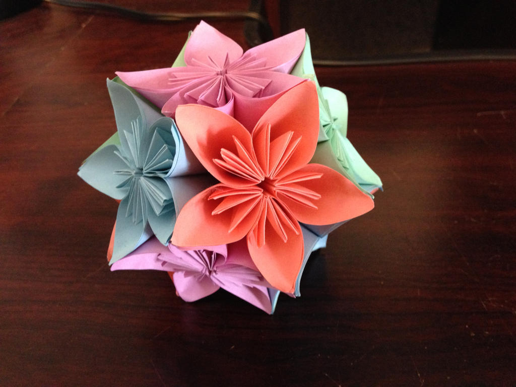 3d Origami Kusudama Flower Ball By Doodlenoodle2173 On Deviantart