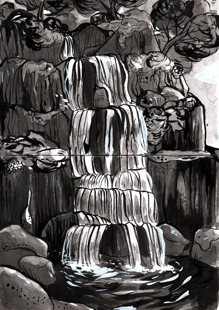 Inktober day 10: flowing by Reb-Makes-Art