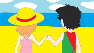 Young Ash and Serena at the Beach