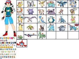 Ash Calem Ketchum's Team in Pokemon Aura by ChipmunkRaccoonOz