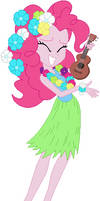 EQ Pinkie dancing in Hawaiian attire
