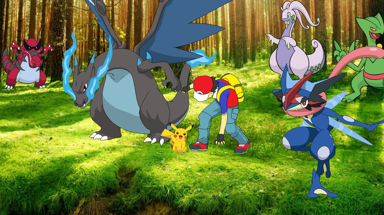 ash and some of his pokemon by chipmunkraccoonoz on deviantart