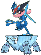 AshGreninja standing atop Avalugg like a surfboard by ChipmunkRaccoonOz