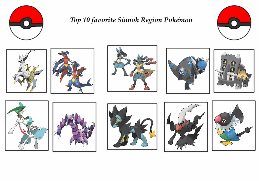 my top 10 favorite sinnoh region pokemon by