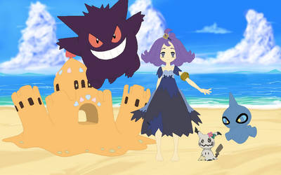 Acerola and her Pokemon at the beach