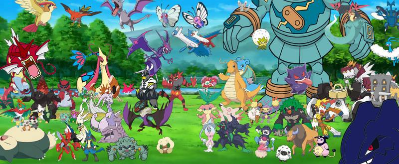 Some of Ash + Serena's Pokemon in Ketchum backyard