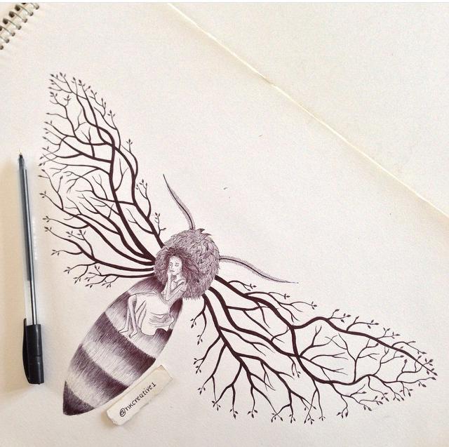 Ball point Pen drawing by NayanKamaliya