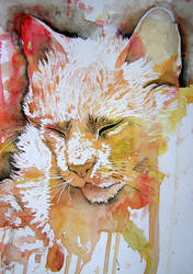 Cat painted with child 3 by Vincik
