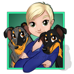 Andrea and her Beaucerons Tori and Kiara by furrytale-ART