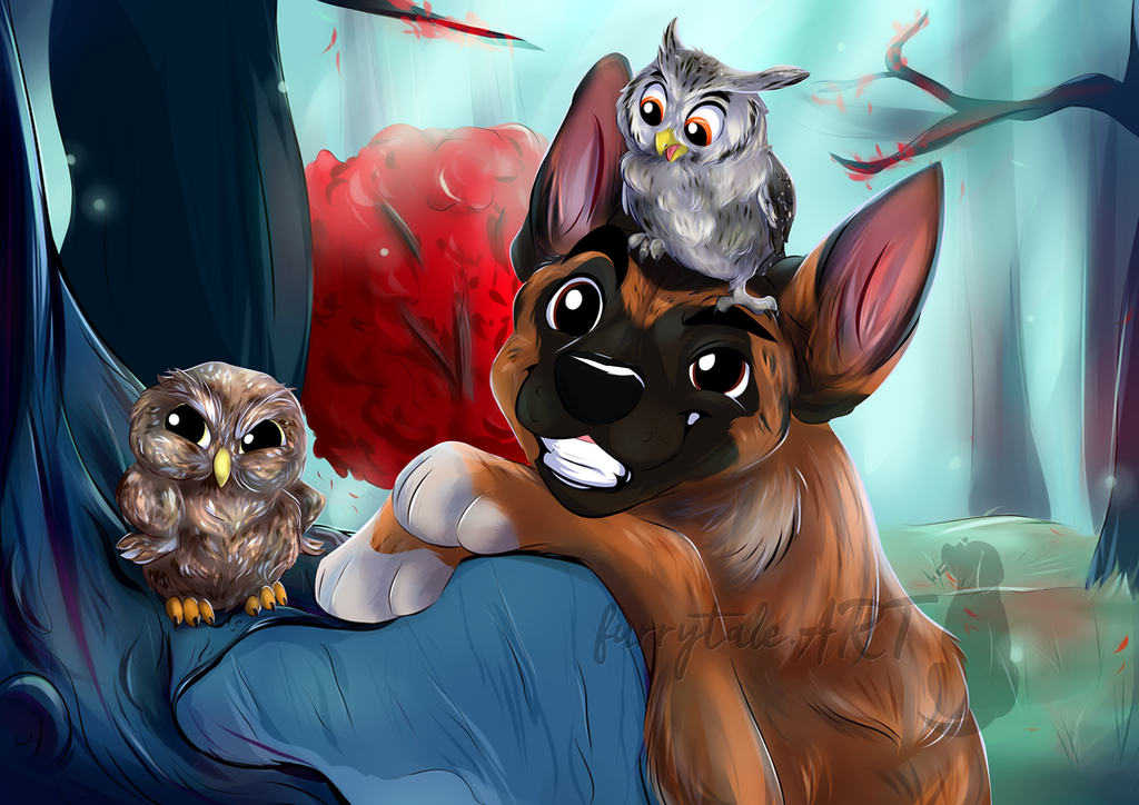 Ingo with his owl friends Poldi and Gandalf by furrytale-ART