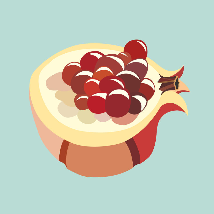 Pomegranate fruit illustration by LIVEyourDR3AM