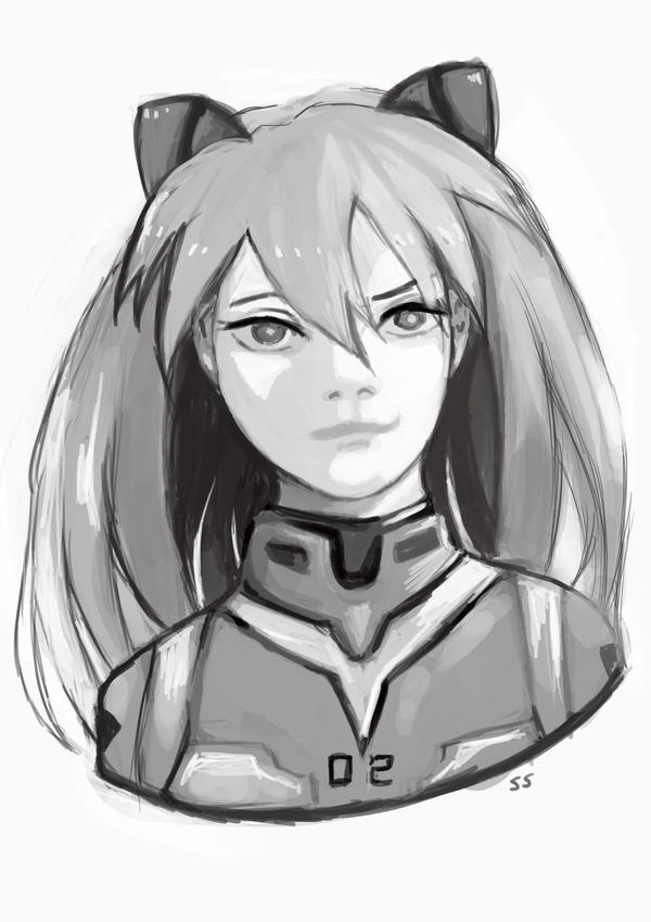 Commission Sketch: Asuka by Chaho-Chi