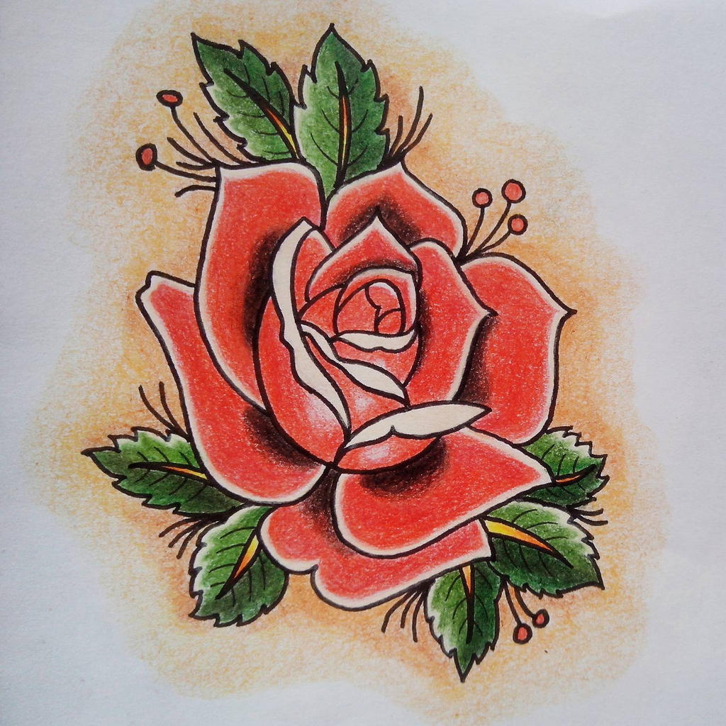 Rose traditional tattoo by Julianaexs on DeviantArt