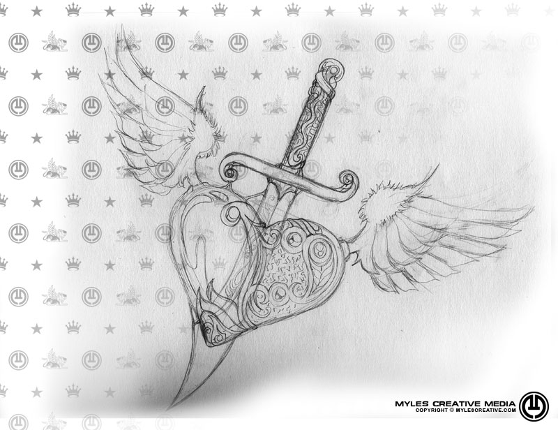 how to draw a heart with a dagger through it