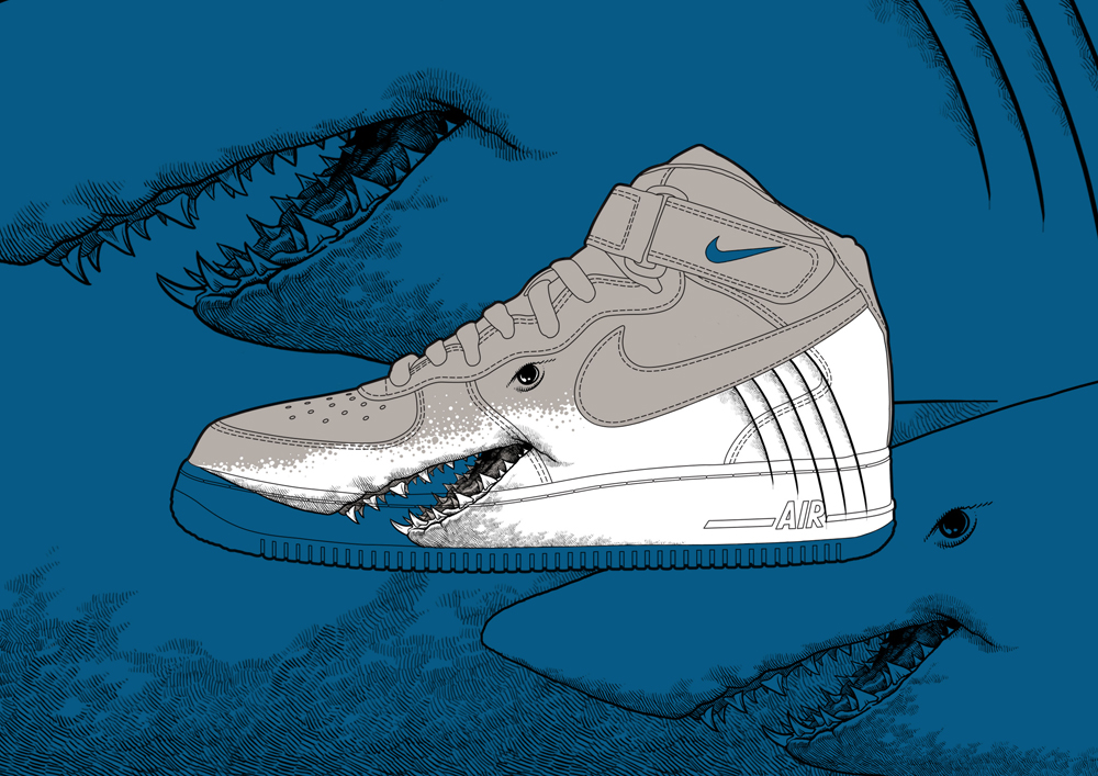 This is an image of Revered Drawing Of Air Force 1s Shoes