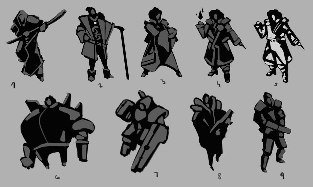 Character Silouettes Sketches #1 by Go2frag