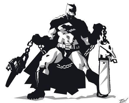 Batman with Chainsaw Nunchucks by ninjaink