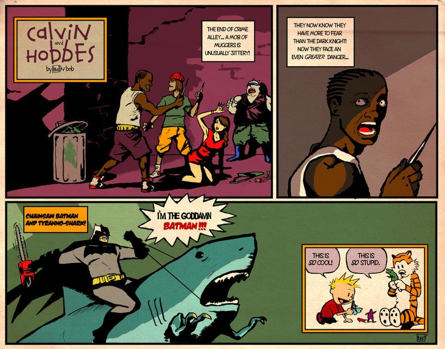 Calvin and Hobbes and Batman by ninjaink