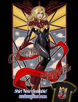 Captain Marvel Art Deco by ninjaink
