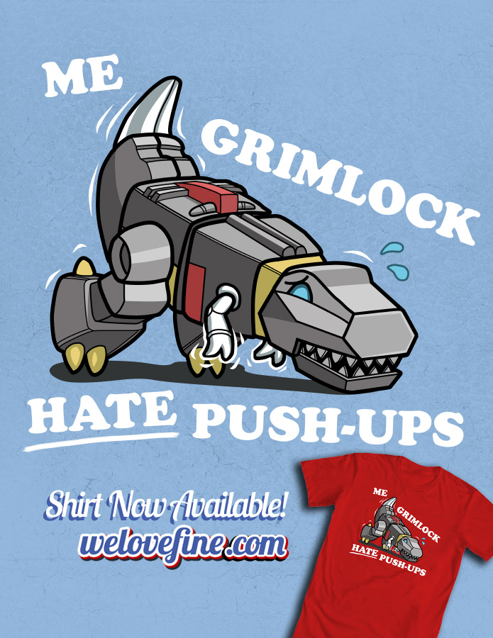 Grimlock Hates Pushups by ninjaink