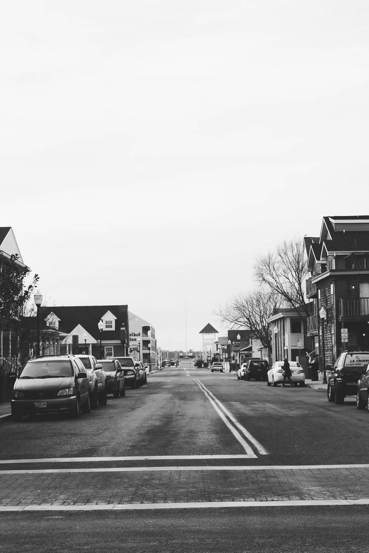 Ocean City Street 2 (Black and White) by dream93