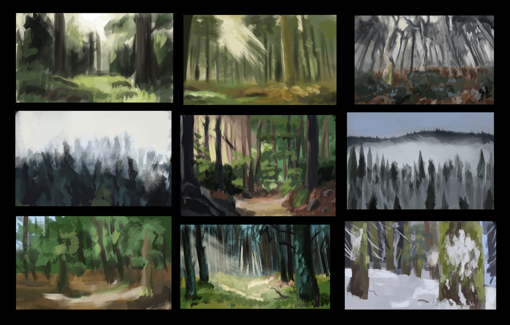 Forest thumbnails (very quick sketches) by voodoocat97