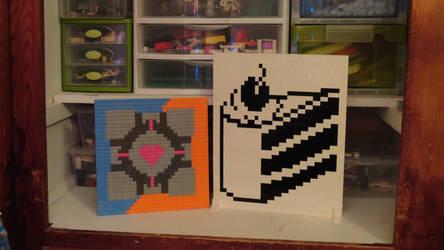 Lego Portal mosaics by legochick08