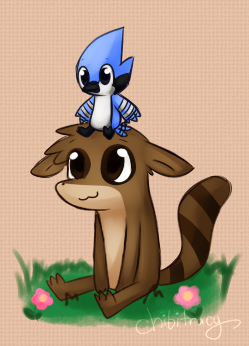 Mordecai and Rigby by Sunnynoga