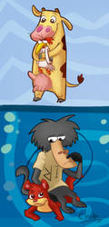 Cow and Chicken/ I Am Weasel by Sunnynoga