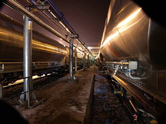 Night Railway Raft of Waggons by sandor99