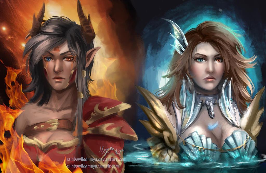 Fire and water by RainbowfiedMaya
