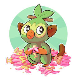 Grookey loves his nanabs by ZeTrystan