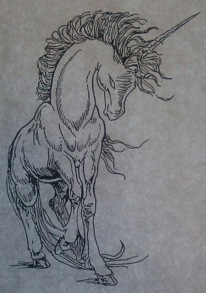 Unicorn tattoo line work by sonichakeem on deviantart for Tattoo line work