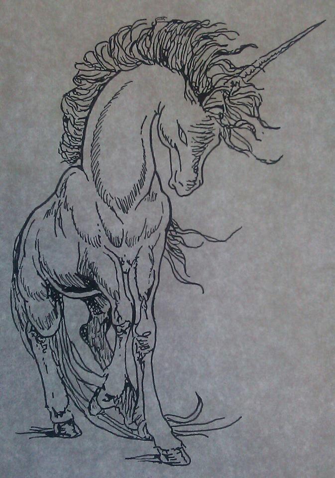 Art Line Work : Unicorn tattoo line work by sonichakeem on deviantart