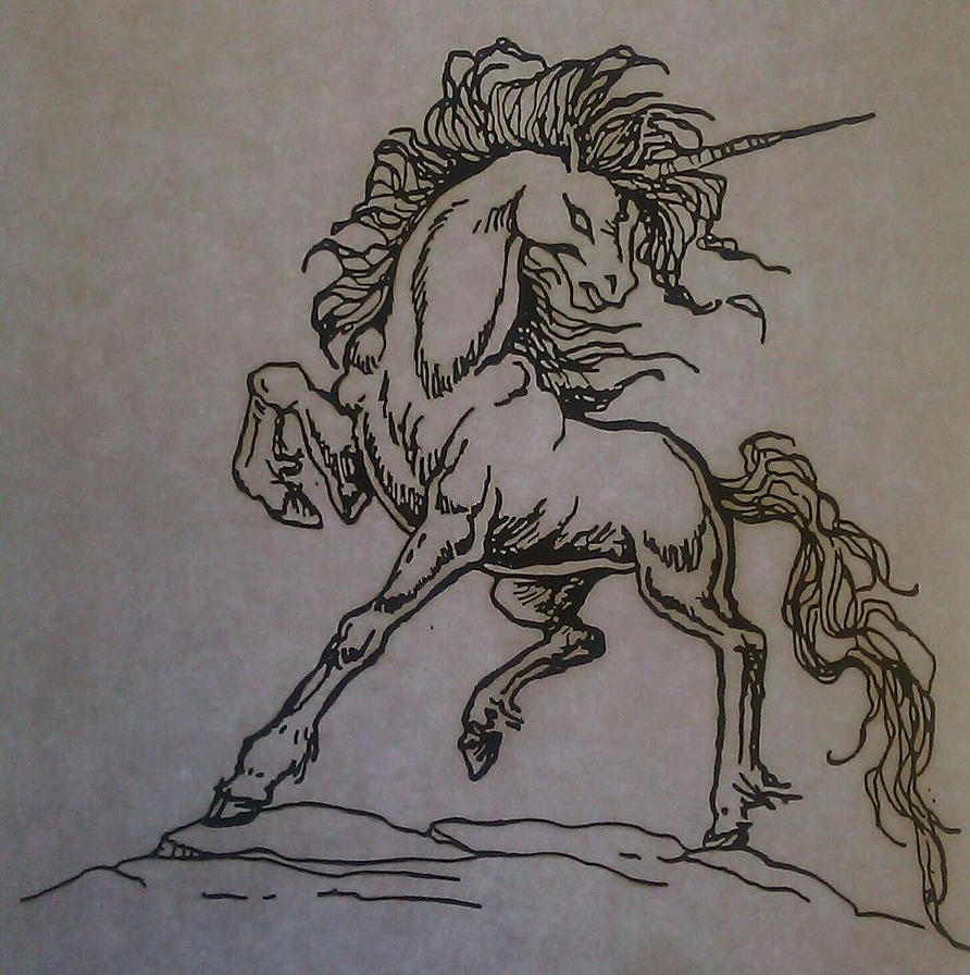 Traditional Tattoo Line Drawing : Unicorn tattoo line work by sonichakeem on deviantart