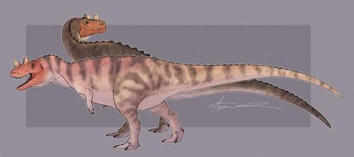 Ceratosaurus (x2) by GoldenNove
