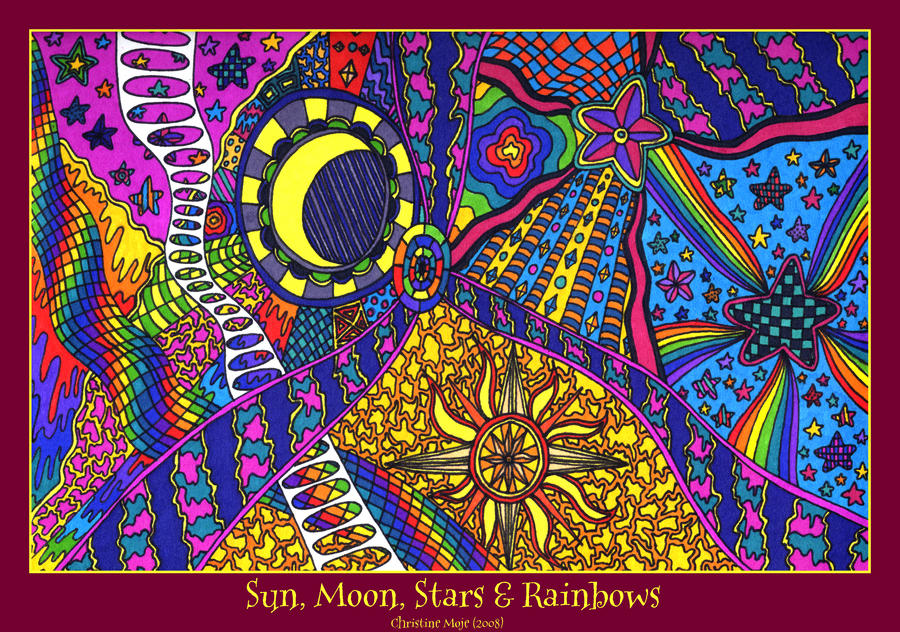 Sun, Moon, Stars and Rainbows by kine80