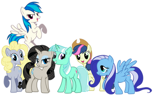 Mane 6 With Background Ponies' Colors by Shadowhedgiefan91