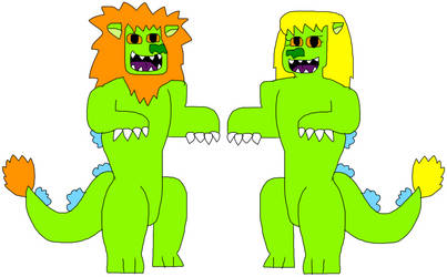Chuckie and Angelica Reptar-Lion Monsters