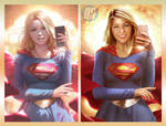 Supergirl and the Selfie, Side by Side by dlscott1111