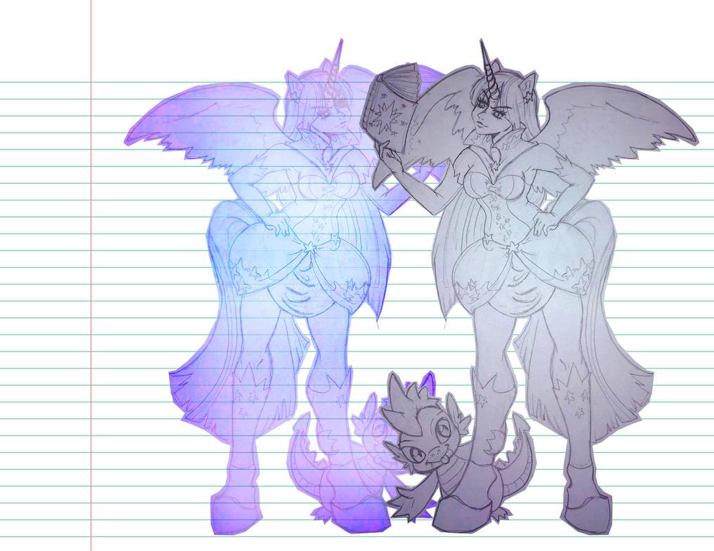 Twilight And Spike by darken-si