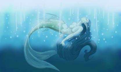 Mermaid Blue sunbathing