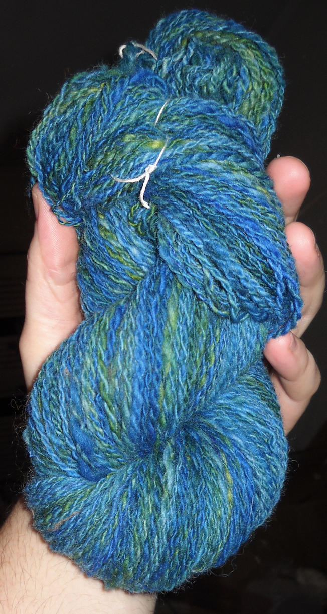 Blue and green handspun, midocean by Ormspryde
