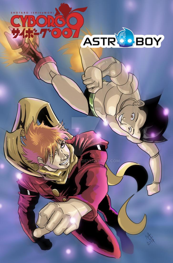Cyborg 009 vs Astroboy by Hawkmac
