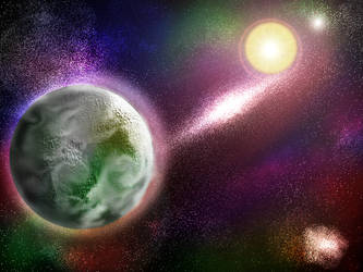 Some habitable planet in space by elfman83ml